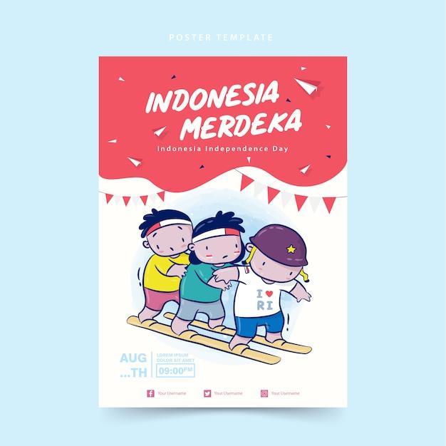 Indonesien unabhängigkeitstag poster vorlage mit cartoon illustration clogs rennen, merdeka bedeutet unabhängig Premium Vektoren