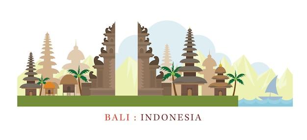 Indonesien und touristenattraktion Premium Vektoren