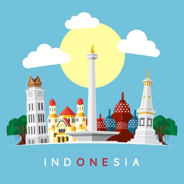 Indonesien wahrzeichen Premium Vektoren