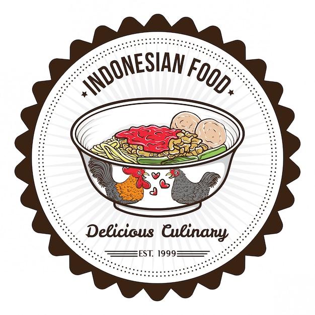 Indonesische lebensmittelnudel und fleischbälle abzeichen designvorlagen Premium Vektoren