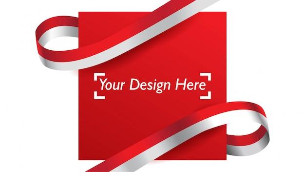 Indonesische patriotische hintergrundschablone mit leerem raum für text, design, feiertage, unabhängigkeitstag. Premium Vektoren
