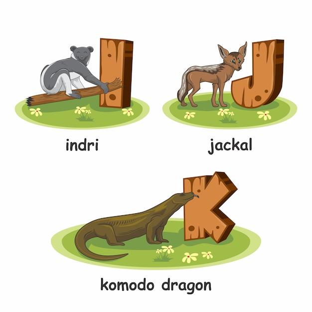 Indri jackal komodo dragon holzalphabet tiere Premium Vektoren