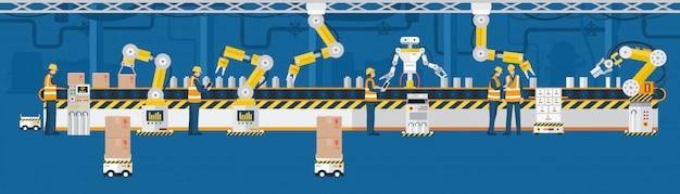Industrie 4.0-konzept, automatisierte produktionslinie mit arbeitern. Premium Vektoren