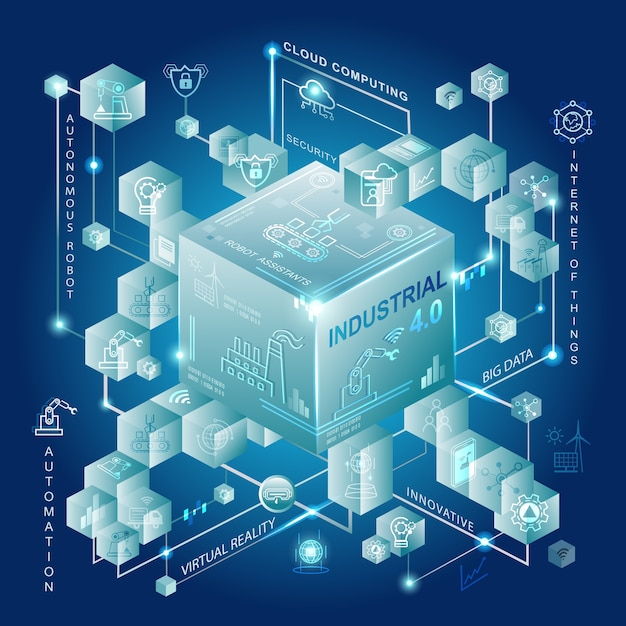 Industrie 4.0-konzept mit smart manufacturing und automation. Premium Vektoren