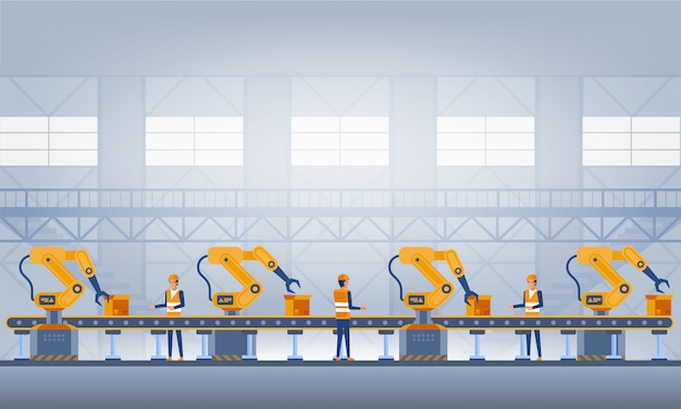 Industrie 4.0 smart factory konzept. technologie-abbildung Premium Vektoren