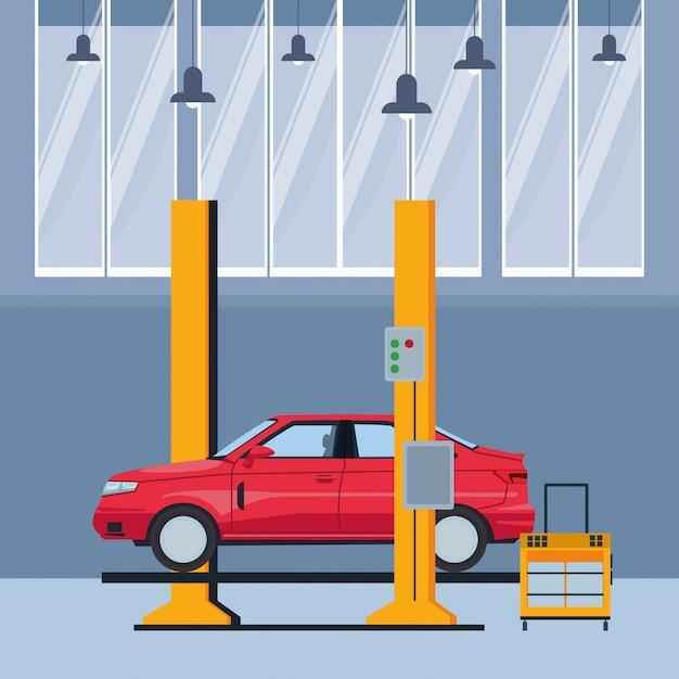 Industrie auto herstellung cartoon Premium Vektoren