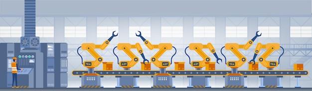 Industrie smart factory konzept. Premium Vektoren