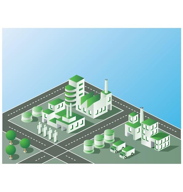 Industrieanlage in der isometrischen ansicht mit der landschaft Premium Vektoren