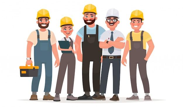 Industriearbeiter. team von bauherren. ingenieur, techniker und arbeiter verschiedener berufe Premium Vektoren