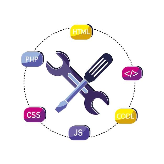 Industrieausrüstungen und datenprogrammierungscode Premium Vektoren