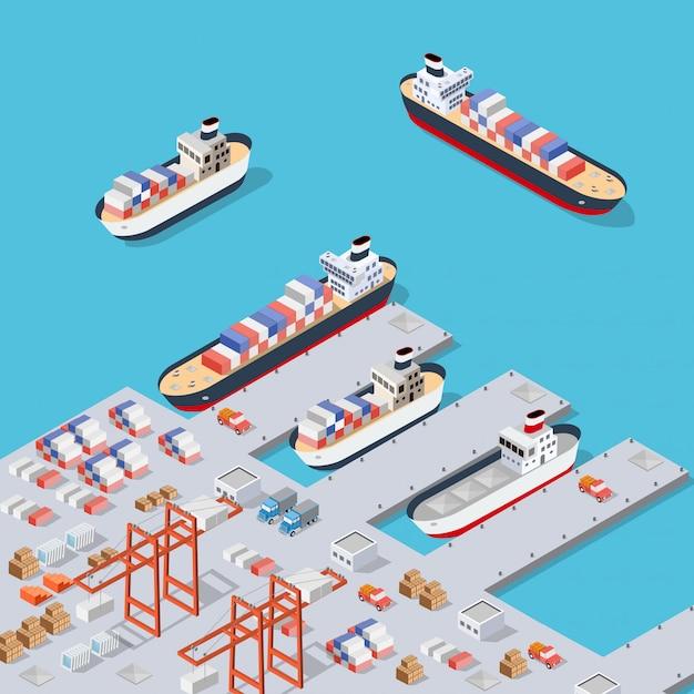 Industriedock der isometrischen stadt Premium Vektoren