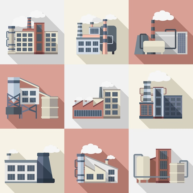 Industriegebäude eingestellt Kostenlosen Vektoren