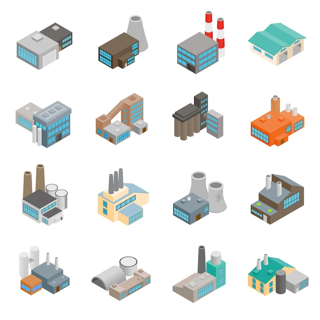 Industriegebäude fabrik Premium Vektoren