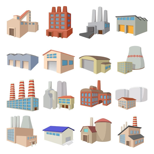 Industriegebäudefabrik- und -kraftwerkkarikaturikonen eingestellt Premium Vektoren