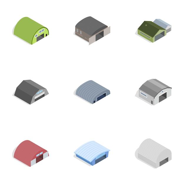 Industriegebäudeikonen, isometrische art 3d Premium Vektoren