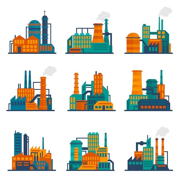 Industriegebäudeillustration flach eingestellt Kostenlosen Vektoren