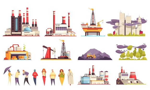 Industriegebäudekarikatursatz fabriken trieb kraftwerks-öl-offshoreplattform lokalisierte illustration an Kostenlosen Vektoren