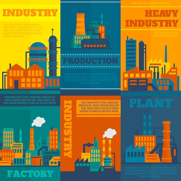 Industrieillustrationen mit textschablonensatz Kostenlosen Vektoren
