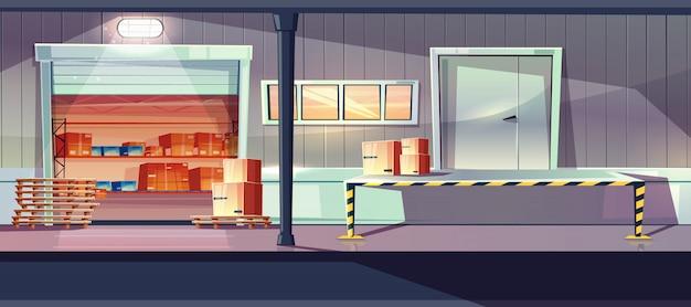 Industrielager-service betritt karikatur mit offenen rolltoren, laden, entladen der rampe Kostenlosen Vektoren