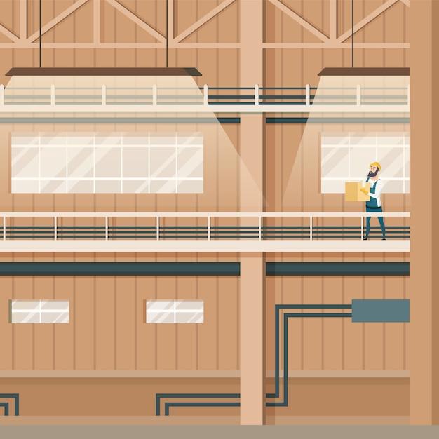 Industrielle fabrik-leeres lager-innendesign Kostenlosen Vektoren