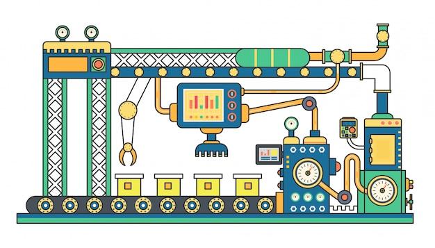 Industrielle förderbandproduktion Premium Vektoren