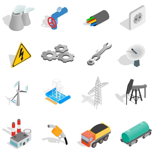 Industrielle ikonen stellten in die isometrische art 3d ein, die auf weißem hintergrund lokalisiert wurde Premium Vektoren