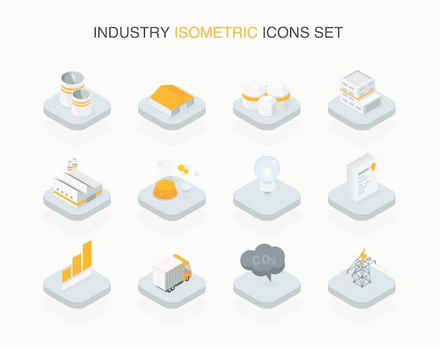 Industrielle isometrische ikone einfach gestaltet Premium Vektoren