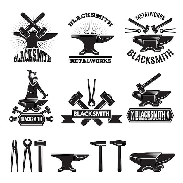 Industrielle logo festgelegt. etiketten für den schmied. Premium Vektoren