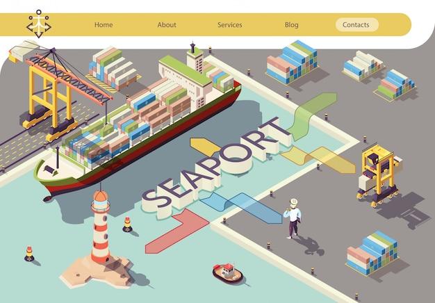 Industrielle seehafen-flussdiagramm-isometrische fahne Premium Vektoren