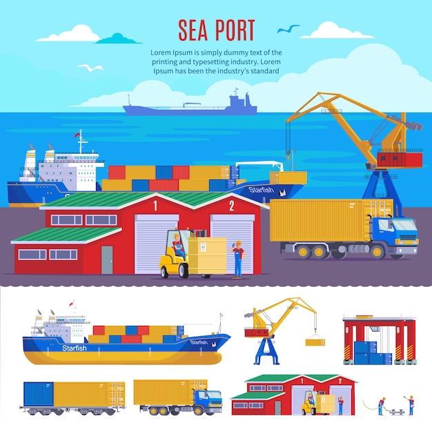 Industrielle seehafenvorlage Kostenlosen Vektoren