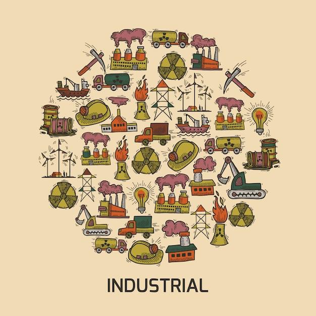 Industrielle skizzenset Premium Vektoren