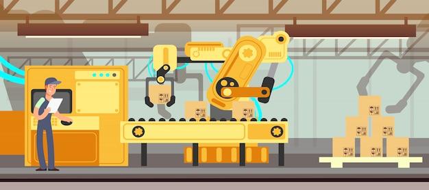 Industrieller fabrikförderer mit produktionsverpackungsprozess Premium Vektoren