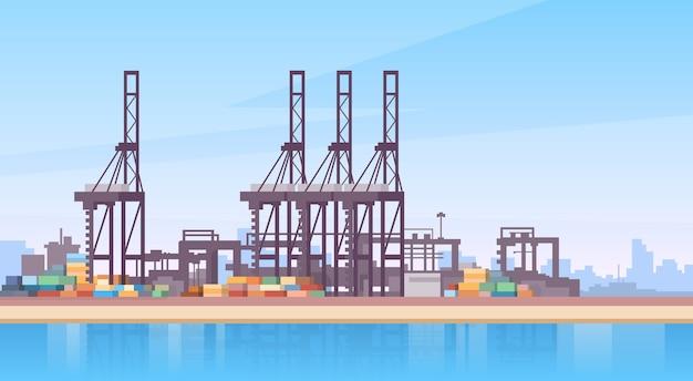 Industrieller seehafen-fracht-logistik-containerschiff-kran Premium Vektoren