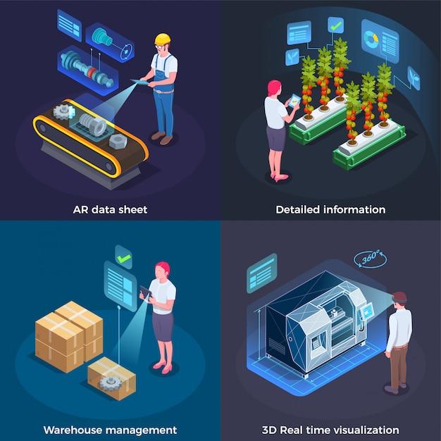 Industrielles augmented reality-konzept Kostenlosen Vektoren