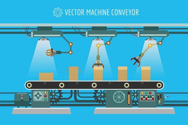 Industrielles fabrikförderband der maschinerie Premium Vektoren
