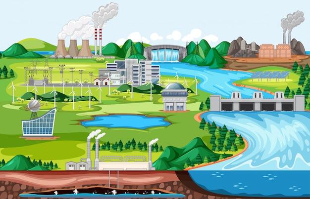 Industrielles fabrikgebäude mit flussseitenlandschaftsszene im karikaturstil Kostenlosen Vektoren