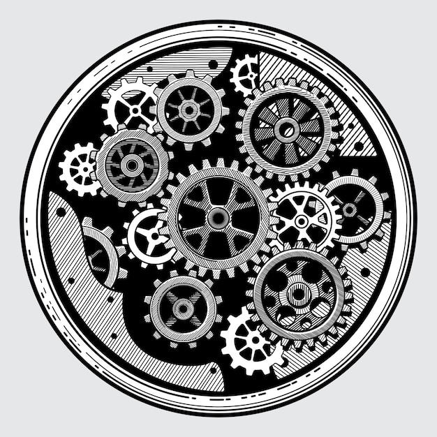 Industriemaschinen der weinlese mit gängen. gezeichnete im altem stil vektorillustration des zahnradgetriebes in der hand Premium Vektoren