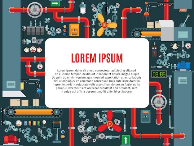Industriemaschinenrahmen mit textprobe Premium Vektoren