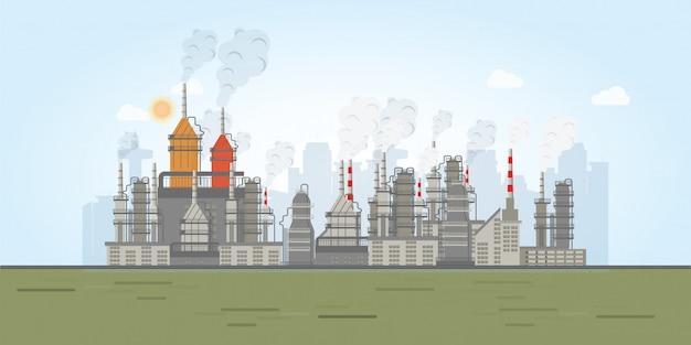 Industriezone mit fabriken. Premium Vektoren