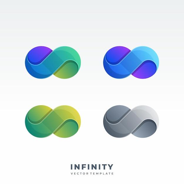 Infinity material design-stil logo Premium Vektoren