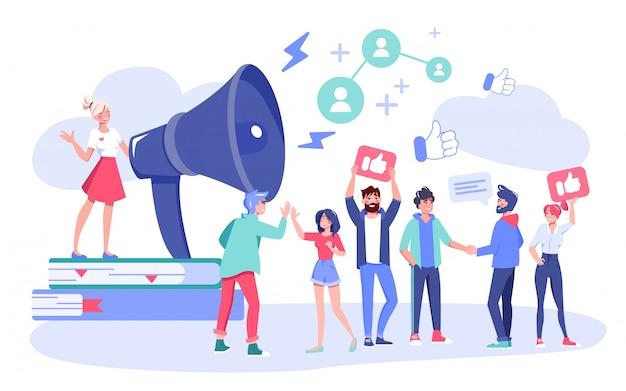 Influencer digital marketing follower attraktion Premium Vektoren