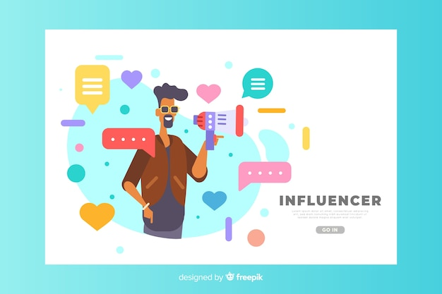 Influencer-konzept für zielseite Kostenlosen Vektoren