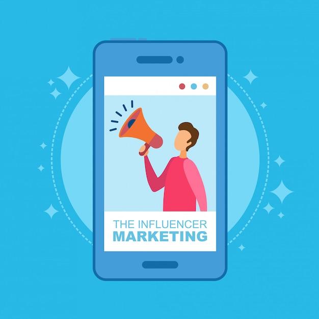 Influencer marketing illustration konzept. mann mit lautsprecher am telefon. Premium Vektoren
