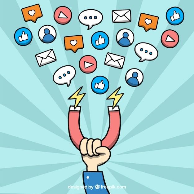 Influencer-marketing-vektor auf starburst-hintergrund Kostenlosen Vektoren