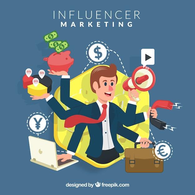 Influencer-marketing-vektor mit geschäftsmann Kostenlosen Vektoren