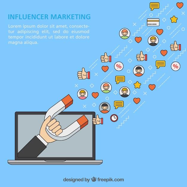 Influencer-marketing-vektor mit laptop und magnet Kostenlosen Vektoren