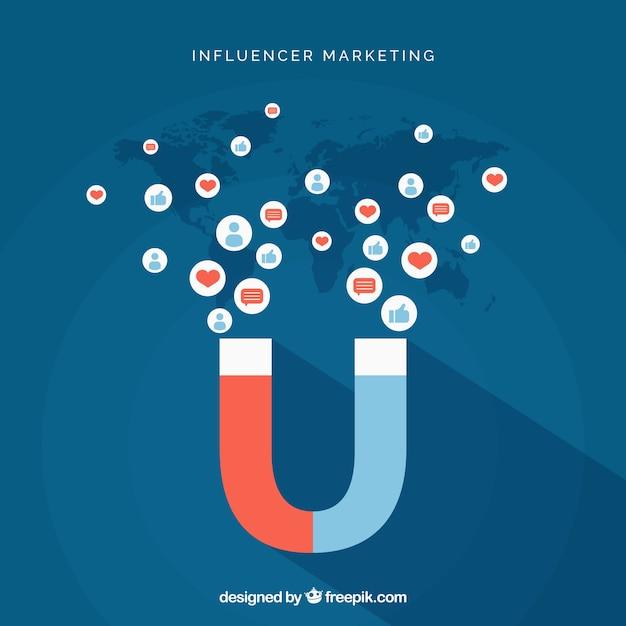 Influencer-marketing-vektor mit magnet Kostenlosen Vektoren