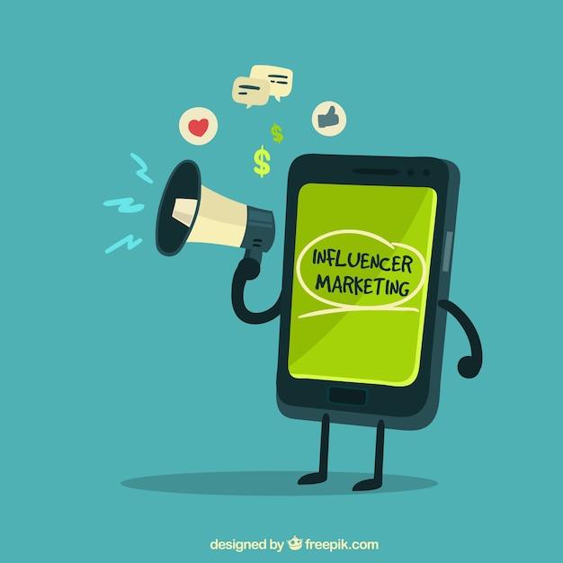 Influencer-marketing-vektor mit smartphone hält lautsprecher Kostenlosen Vektoren