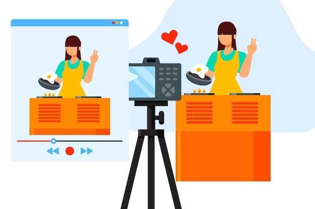 Influencer nimmt neues video auf Premium Vektoren