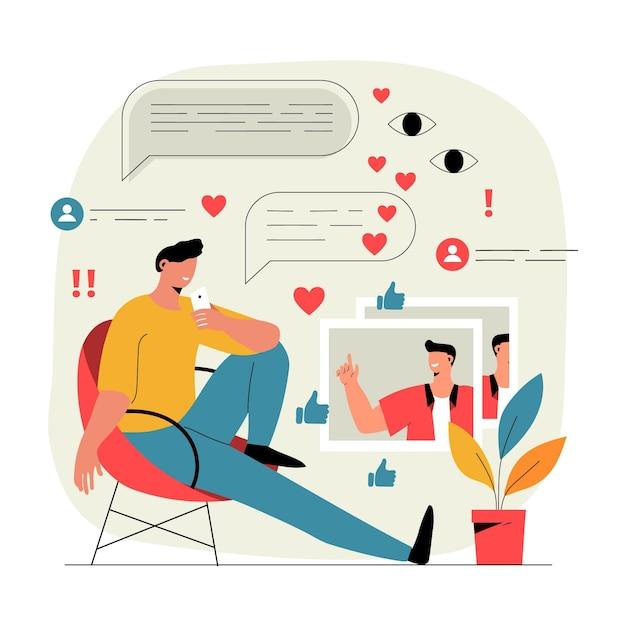 Influencer video blogging illustration Premium Vektoren